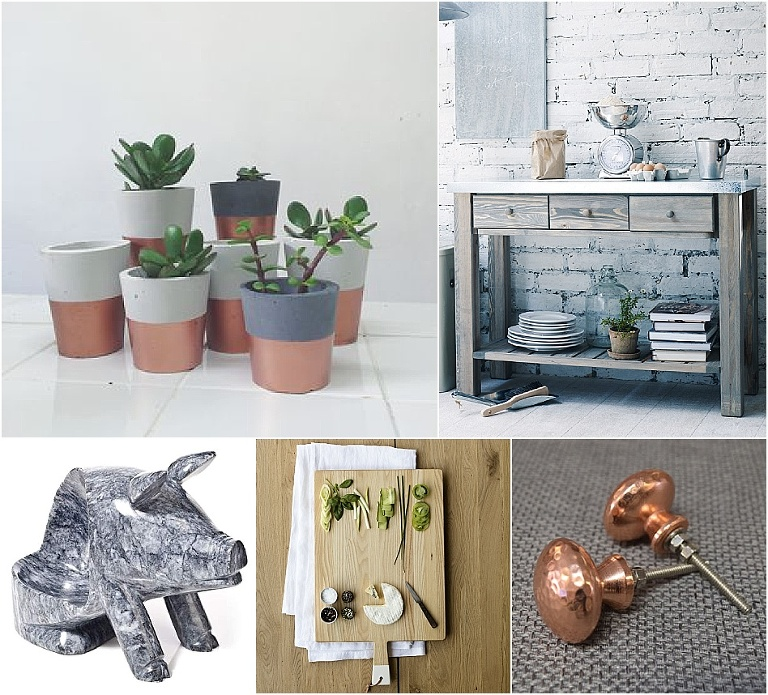 Copper, concrete and marble industrial kitchen accessories