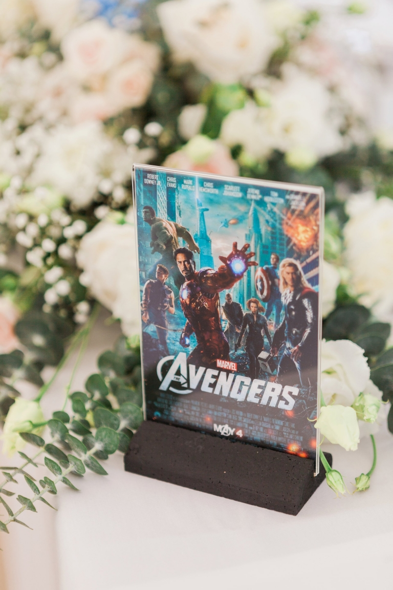 movie themed table name - Hutton Hall wedding reception, image by Essex wedding photographer Amanda Karen Photography