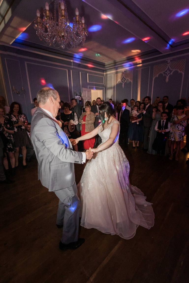 Wedding dancing - father daughter dance - Hutton Hall wedding reception, image by Essex wedding photographer Amanda Karen Photography
